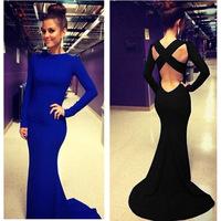 New 2014 women autumn sexy elegant brief full sleeves backless trumpet party dress casual dress vestidos evening dress KF033