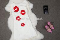 EU force fashion personality irregular mouth embroidered dress sexy lips BL9938