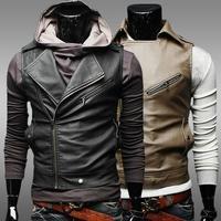 2014 winter new men's personality oblique zipper short paragraph self-cultivation Leather Vest