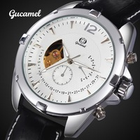 Coupon 2014 Lunxury Brand Mechanical Watch  Business10cm Waterproof Cow Leather Men's Watches Wristwatches