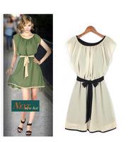 Free Shipping 2014 new short O-neck sashes slim ladies' flounced dress women's sleeveless Elegance Bow Vest women casual dress