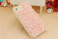 Best Pink Deluxe Rainestone Stunning Soft Silk Lace Pearls Rose Hard back Case Cover for iPhone 5 5S 4 4s 5c 5g CC107