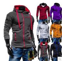 2014 new men's winter raglan sleeve brushed cardigan zipper leisure Sweater Hoodie