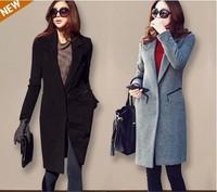 2014 suit fashion elegant turn-down collar slim woolen outerwear women's medium-long woolen overcoat