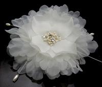 "10PX 4"" Blooming Silky white Flower Crystal parl Hair Clip Hair Pin wedding Bridal Bridesmaid Party"
