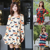 21 Styles! New 2014 Fat women Autumn Dress Big Size Flannel Winter Casual women Dress Fashion Plus Size Printed Casual vestidos