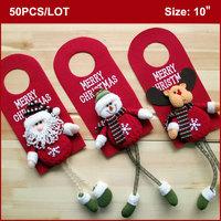 50PCS Christmas Doorknob Hanger, 10 inch, Christmas Decorative Xmas Door Hangers Decoration-Santa Snowman Reindeer 3 designs