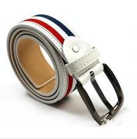 2014 New Design Men's Lady Belt Unisex Classic Fashion Durable Canvas Stripe Belts women PU Leisure joker Men Pin buckle belts