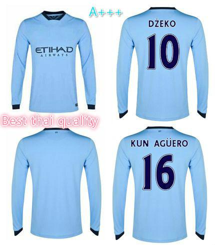 Top Thai Quality 2015 DZEKO KUN AGUERO TOURE YAYA Long sleeve Soccer Jersey 14 15 Manchester City Home LS Soccer Jersey(China (Mainland))