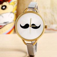 Fashion Mustache Casual Watch Unisex Stainless Steel Band Wristwatch Beard Women Dress Watch