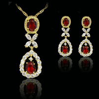 red elegant  fashion 18k gold plated birthday Xmas cubic zircon CZ  Necklaces & Pendants Earring bridal jewelery sets gift