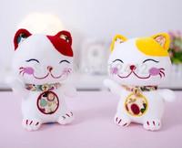 2pcs 17cm FREE SHIPPING Small Kawaii Doll Lucky Cat Soft Toy Plush Kitty Stuffed Animal For Wedding Souvenir Gift Car Decoration