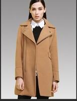 Autumn and winter women woolen overcoat outerwear fashion medium-long large lapel woolen outerwear