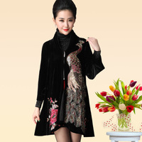 2014 Autumn winter brand pleuche temperament big yards middle-aged and old mother long  trench coat