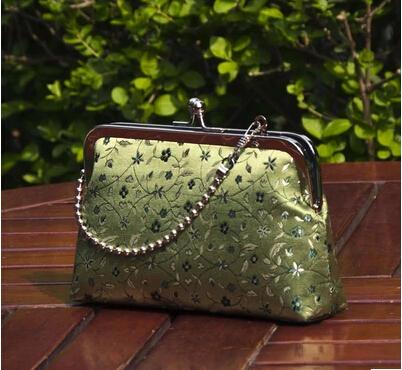 15 New Green Silk Chinese Handmade Metal Frame Mouth Gold Custom Elegant Brocade Bag Shoulder Bag Evening Bag Women's Handbags(China (Mainland))