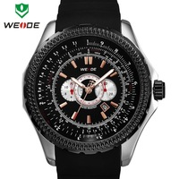 Original Japan Miyota 2115 Quartz Analog Complete Calendar PU Rubber Band 3ATM WEIDE Brand Men Luxury Watches
