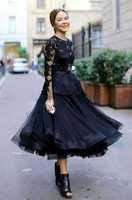 2014 elegant vintage  Cannes  Ulyana Sergeenko black  long sleeve lace puffy ball gown  dress  evening dressCelebrity Dresses