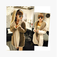 New 2014 Women's Autumn and Winter Thickened Awning with Cap Plush Winter Thickened Winter Coat Double Wear Free Shipping