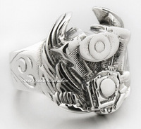 Wings of motorcycle engine ring Male, 925 silver