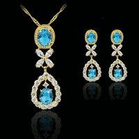blue elegant  fashion 18k gold plated birthday Xmas cubic zircon CZ  Necklaces & Pendants Earring bridal jewelery sets gift