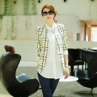 2014 New Yellow Plaid Blazer Female Spring And Autumn Outerwear Fashion Coat Yellow And Black Size S-XXL blazer feminino