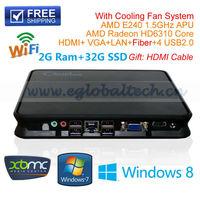 High Carbon Fiber Compound Material Micro Computer With CPU AMD E240 1.5Ghz 2G DDR3 Ram 32G SSD Mini PC Windows Linux Ubuntu