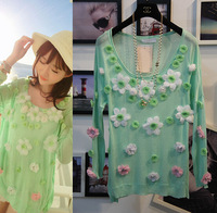Free shipping 2014 za* Temperament  oversize T-Shirts Flower printed Shirt Sport Sweater  women American apparel Summer-Autumn
