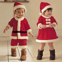 Christmas Cloth !!Free shipping Santa Claus Costumes Little Miss Santa' S Helper Children Girls Costume Holiday Dress Xmas Gift