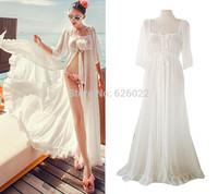 2014 NEW Sexy Summer Beach Cardigan Long Dress Bikini Swimwear Cover-ups Bohemian Long Thin Semi Chiffon Dress White Color