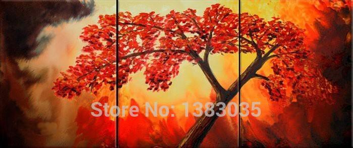 Pintados à mão pinturas abstratas galho de árvore óleo sobre tela 3 Painel Wall Art Home Decoração Pictures Set Modern(China (Mainland))
