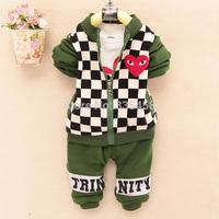 Baby Boy Clothing Set Long Sleeve T shirt + Plaid Jacket + Pants Warm Thicken Fleece Winter conjunto de roupa Kids Clothes Sets
