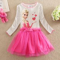 Pink Frozen princess elsa anna baby girl long sleeve dress  brand children cartoon kids clothes party tutu cotton dress