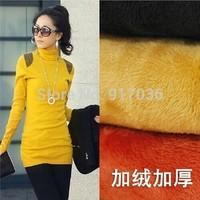 2014 Women's new big yards velvet thickening High collar garment Han edition satchel buttock long sleeve T-shirt