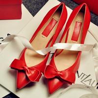 Plus Size EU34-42 Ladies Sheepskin High Quality Wedding Shoes Med Heel Red Bridal Shoes Elegant Bowknot Dress Shoes P134