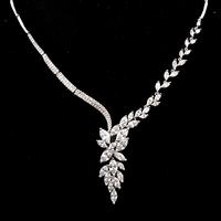 Allencoco luxury design women wedding/bride jewelry/little zircon flower 18k real platinum plated choker necklace WL0705