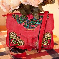 Women Messenger Bag, New Leather Protection Bag Forpad, National Wind Vintage Embroidery Shoulder Women Messenger Envelope Bag