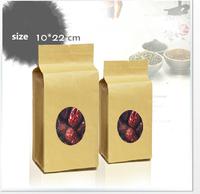 Wholesale 10*22+7cm  visual kraft paper food bags with window  / Tea bags