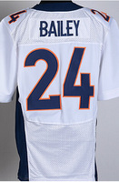 Free Shipping Denver American Football #24 Champ Bailey Jersey White, Blue, Orange Sewn Elite Jerseys