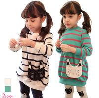 Hu Sunshine wholesale new 2014 Fashion Lovely Cat Long Sleeve Striped Children Twinset Autumn Style Girls Cat Kids Suit XHM9160