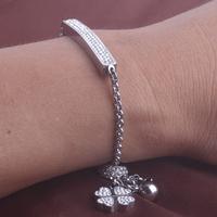 Adjustable Length Fashion CZ Crystal Stainless Steel Bracelet For Women