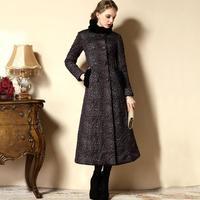 2014 Winter desigual overcoat women's stand collar cotton overcoat ultra long wool trench coat for women