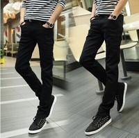 Pure color casual pants men's casual pants black feet pants