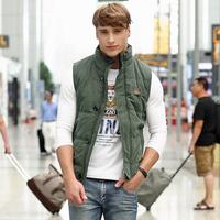 Free shipping 2014 winter new Korean Slim down cotton vest fashion casual wave of men vest 3 color size M to XXXXL  8111