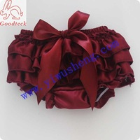 Halloween solid color maroon satin bloomer wine baby girl panty bloomer (5 pieces/lot)