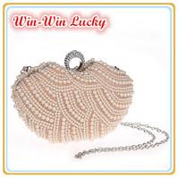 Hot Style Women's Elegant Pearl Evening Bag Fashion Handmade Beaded Party Finger Ring Clutch Wedding Bridal Handbag Shoulder Bag