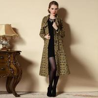 2014 Winter trench coat for women desigual overcoat  women's X-long trench coat plus size fancy design long coat