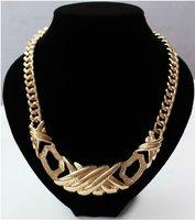 2014 Gold Brief Chunky Twist Textured Hollow Bar Pendant Women Choker Statement Necklace