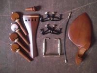2 Sets Jujube Violin parts with tail piece chin rest pegs fine tuner tail gut and clamp 4/4