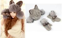 2014 New Winter Women's Keep Warm Cat Ear Devil Horn Knitted Sweater Hats Faux Fox Fur Side ball Skullie Caps /  Hat + Gloves