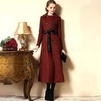 Winter desigual overcoat women woolen trench coat match plus size ultra long paragraph Plaid trench coat